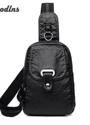 Прикольный рюкзак-сумочка черного цвета, новая