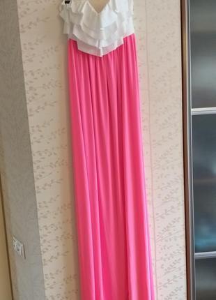 Платье макси корсетное с рюшами