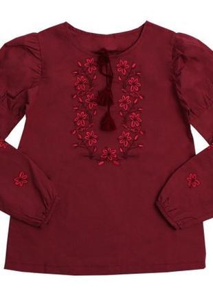 Блузка-вышиванка для девочек Бордовая