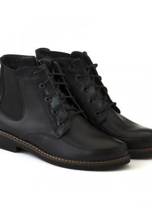 Кожаные женские черные демисезонные ботинки на шнуровке натура...