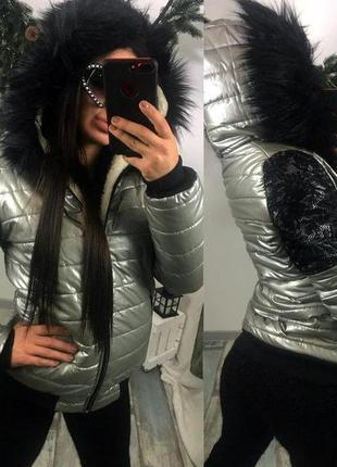 Красивая новинка,зимняя стеганная куртка-мех печка,с кружевом,...