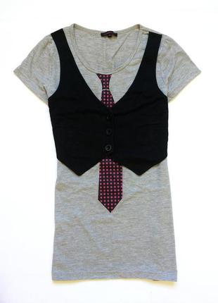 Футболка рубашка, с бабочкой, с галстуком, женская блуза, блуз...