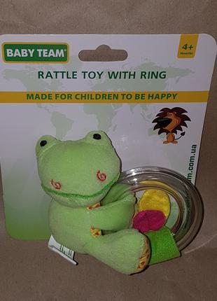 Погремушка игрушка грызунок с кольцом Baby Team 8502 лягушенок жа