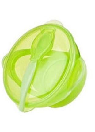 Глубокая тарелка миска на присоске крышкой ложкой Baby Team