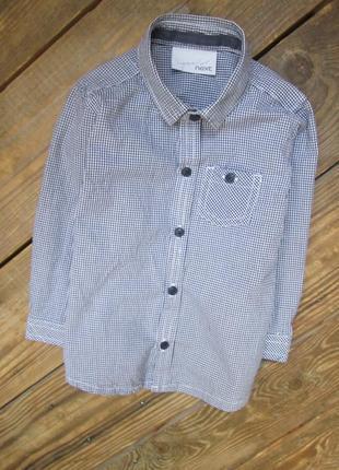Крутая рубашка next на мальчика 1-1,5 г. черно-белая клетка