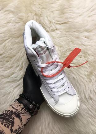 Nike blazer mid white. белые мужские кожаные кроссовки найк ха...