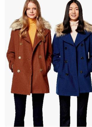 Шерстяне пальто united colours of benetton меховой воротник дв...