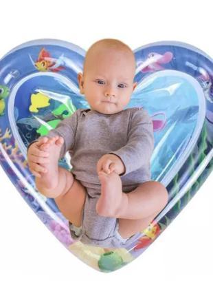 """Водный коврик для детей """"Сердце"""", развивающий надувной акваковрик"""