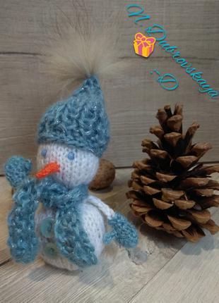 Вязанные, новогодние игрушки, снеговик, олень, гном, handmade