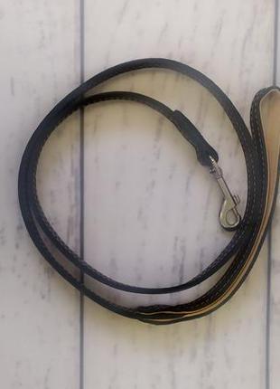 Поводок ошейник для собаки коричневый эко кожа