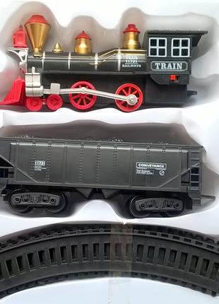 Железная дорога паровоз+вагон Свет. Звук. Ездит.