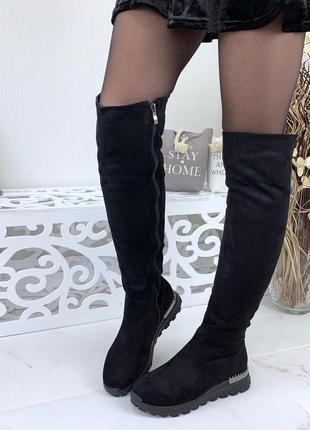 Зимние замшевые сапоги ботфорты на оригинальной подошве