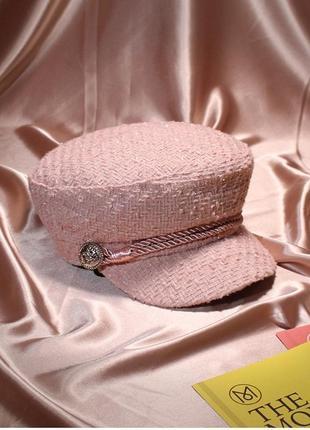 Женская фуражка / кепи / картуз твид розовая