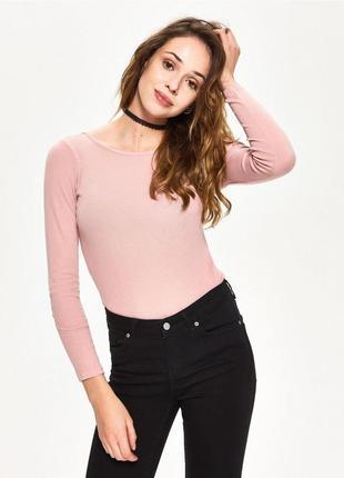 Новая длинная облегающая розовая пудра кофта лонгслив блузка п...