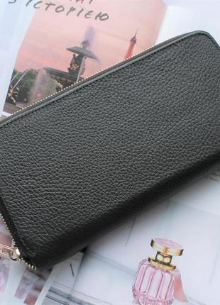 Женский кожаный кошелек черный