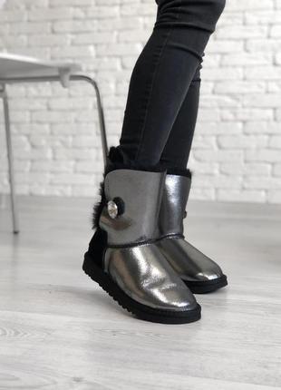 Ugg bailey button black с пуговкой женские сапоги серебристый ...