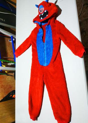 Новогодний карнавальный костюм монстра на 4-6 лет, ромпер, тёп...