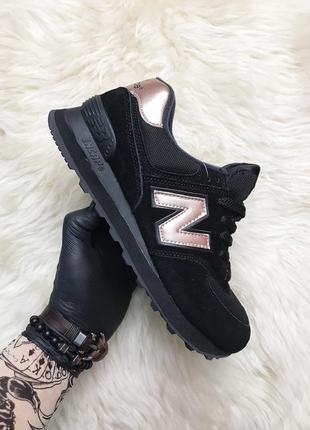 Черные женские кроссовки new balance 574