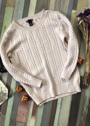Пудровый свитер косичка ( шерсть, вискоза ,акрил ) h&m