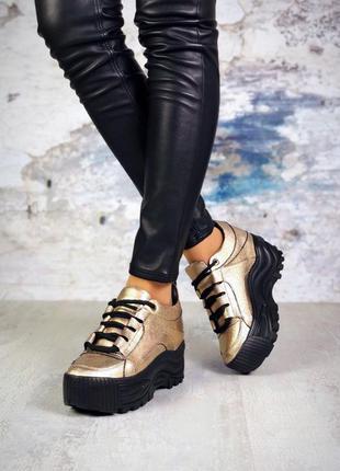 Хит-2019 натуральная кожа люксовыые кроссовки на массивной под...