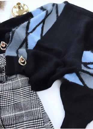 Ангоровый оверсайз свитер кофта джемпер с широкими рукавами