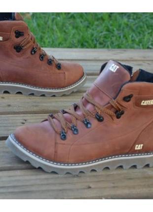 Мужские кожаные зимние ботинки б 707 рыж