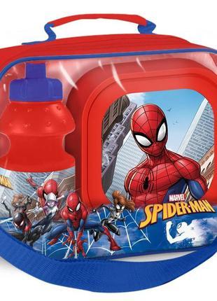 Набор 3в1 сумка, ланчбокс, бутылочка для воды человек паук
