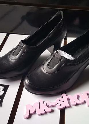Женские кожаные туфли на толстом каблуке gold play009