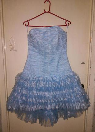 Нарядное,гипюровое-фатин,корсетное платье-пачка на шнуровке