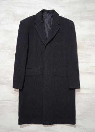 Шведское классическое пальто batistini шерстяное, тёмно- графи...