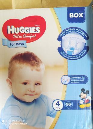 Подгузники для мальчиков Huggies Хаггис ultra comfort 4 96шт підг