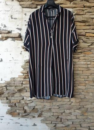 Вискозное платье рубашка туника большого размера