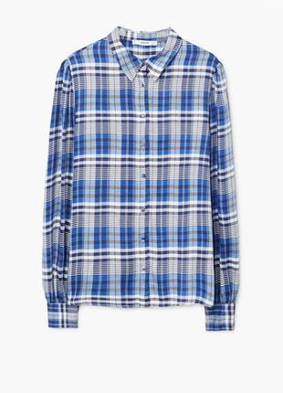 Стильная вискозная рубашка, блуза mango в клеточку.