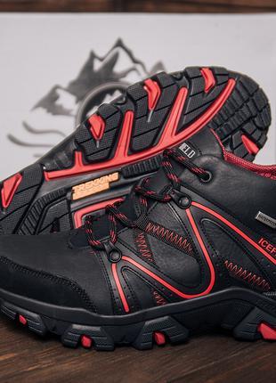 Мужские зимние кожаные ботинки IceField Gore-Tex Black гортекс