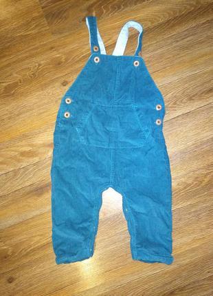 Штаны вельветовые на подтяжках мальчику на 6-9 месяцев