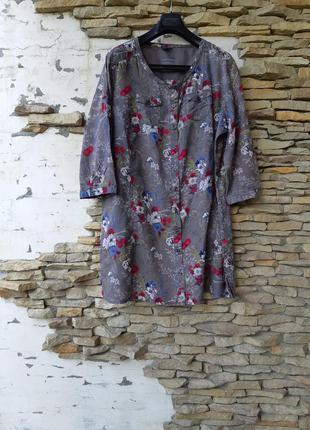 Котоновая в цветы 💐 рубашка 👕 туника большого размера