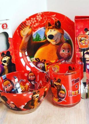 Набор детской посуды с приборами маша и медведь