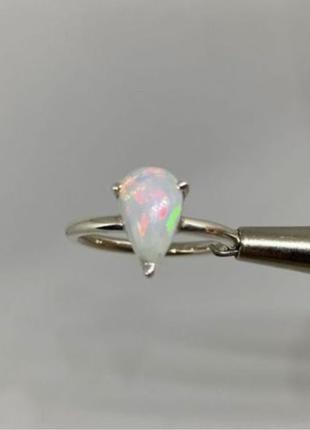 Серебряное кольцо с натуральным Радужным опалом, кольцо опал 925