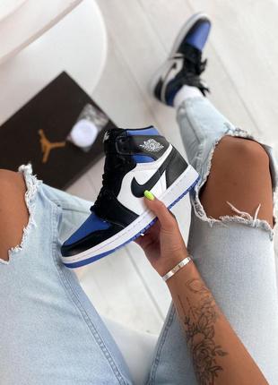 Nike jordan 1💙 high black blue white, кроссовки баскетбольные ...