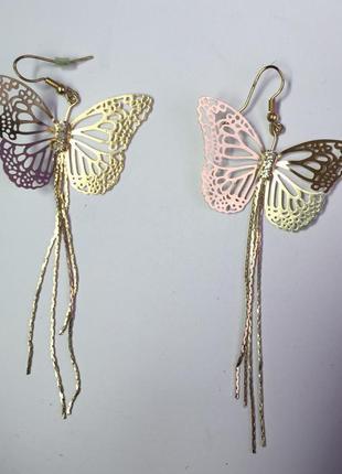 Серьги бабочки, сережки.