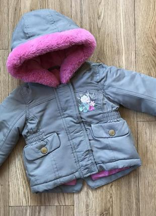 Крутая демисезонная курточка/ парка с мехом и капюшоном для де...