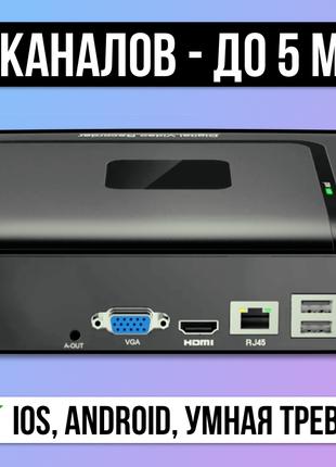 > 5Мп 9-Канальный NVR IP Видеорегистратор для ip камер