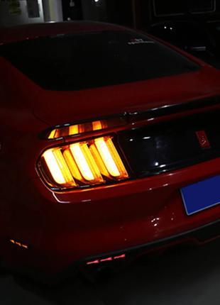 Диодные фонари Ford Mustang (15-19) Led тюнинг оптика (желтый пов
