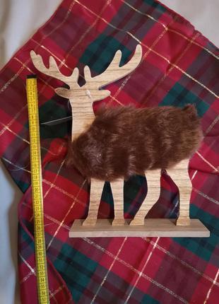 Новогодний декор статуэтка деревянный олень