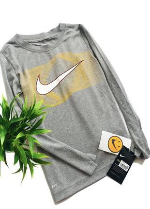Серая спортивная футболка с длинным рукавом nike для мальчика ...