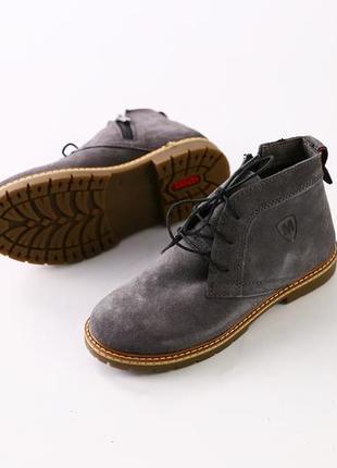 Ботинки зима/деми размеры: 27-39  серый  натуральная замша тимбы