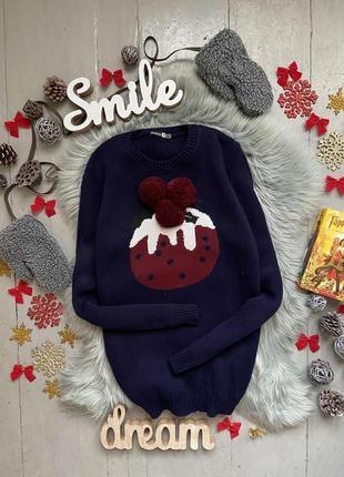 Актуальный новогодний рождественский свитер с помпонами №9max