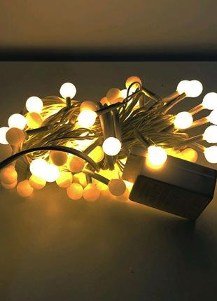 Гирлянда-нить(String-Lights)внутренняя белый-теплый:пров белый 7м