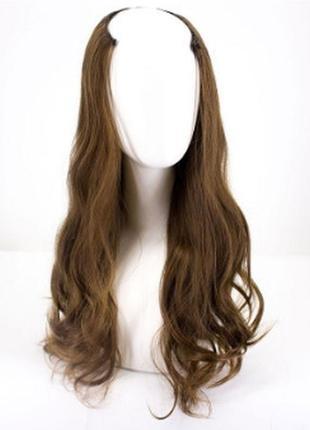 Трессы волосы на заколках полупарик 160г светло-коричневык вол...