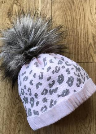 Красивая теплая зима осень демисезонная шапка для девочки  с м...